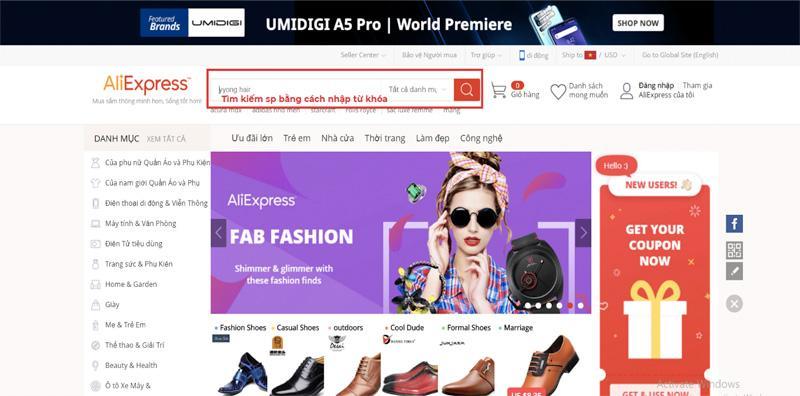 Tìm kiếm sản phẩm trên Aliexpress bằng cách gõ từ khóa trên thanh công cụ